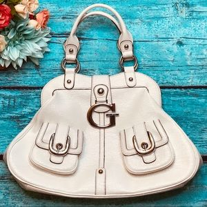 Guess G Ivory Cream Large Tote Purse Primary